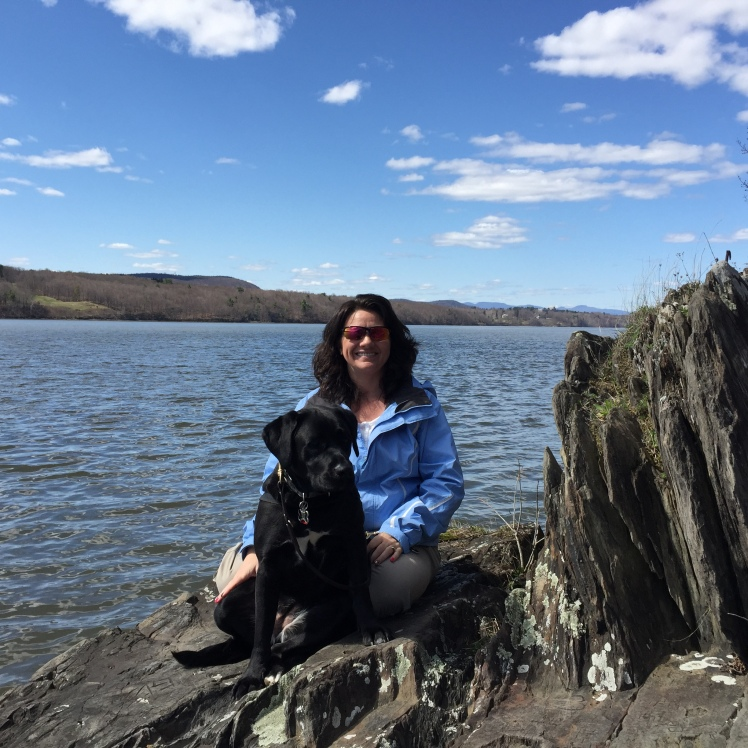 Jennifer and Onyx at Bard Rock near the Hudson River on the Vanderbilt Mansion property.