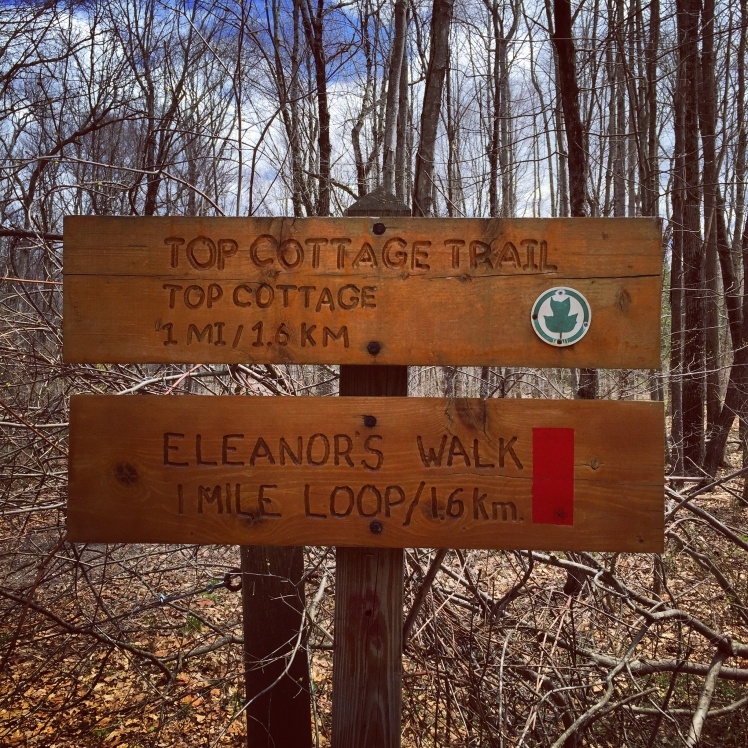 A sign for a couple of the trails located at the Eleanor Roosevelt National Historic Site in Hyde Park, New York.
