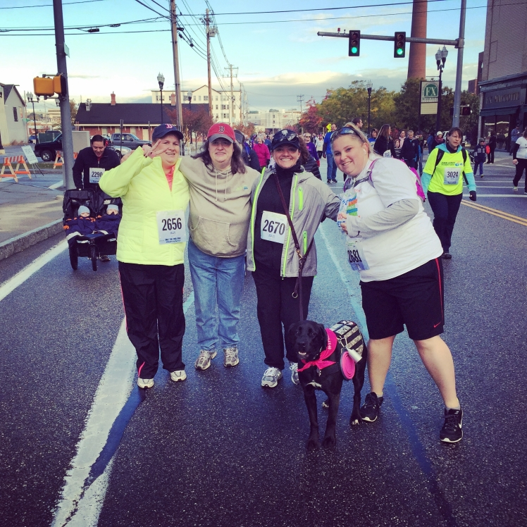 Xandy, Valari, Jennifer, Onyx, and Ali at the Dempsey Challenge 5K.