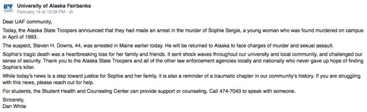 UAF Statement Sophie Sergie